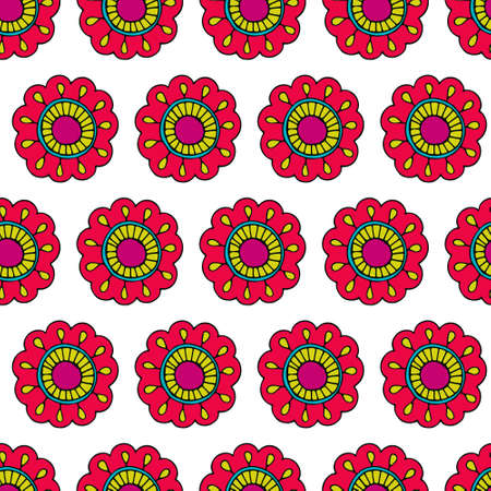 Seamless floral pattern. Bright flowers on white background