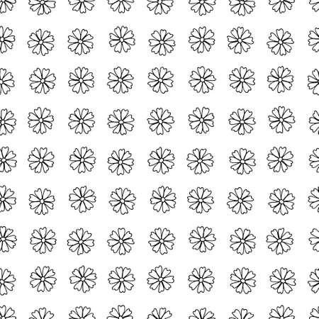 seamless pattern with hand drawn contour flowers. Botanic pattern with black hand drawn daisy flowers. Иллюстрация