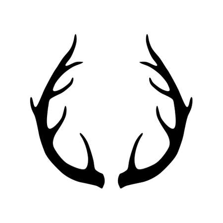 Deer antlers silhouette isolated on white background. Horns icon 矢量图片