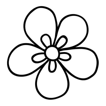 Floral Doodle icon for social media story. Hand drawn doodle chamomile