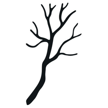 Hand drawn branch without leaves isolated on white