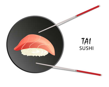 Tai sushi roll, Asian food, flat style. Isolated on white 일러스트