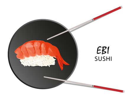 Ebi sushi roll, Asian food. Nigiri sushi ebi illustration? Isolated on white