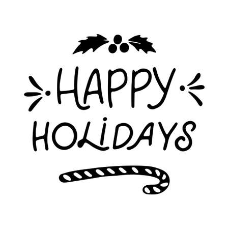 Hand Drawn Ink Lettering. Hand drawn lettering to winter holiday. Hand drawn inscription to winter holiday. Lettering Happy holidays 일러스트