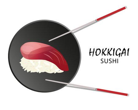 Hikkigai sushi roll, Asian food, flat style. Isolated on white
