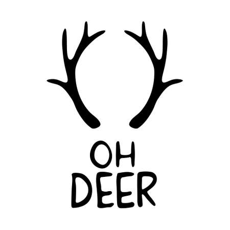 Hand Drawn Ink Lettering. Calligraphy vector illustration. Lettering - Oh deer with horns 일러스트