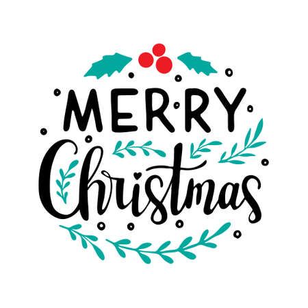 Hand drawn lettering to winter holiday. Merry christmas hand drawn lettering. lettering - Merry Christmas
