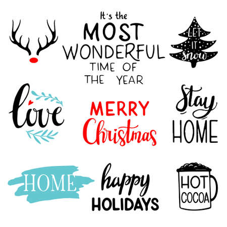 Christmas lettering set. Hand drawn lettering to winter holiday. Lettering badge emblems. Christmas calligraphy set: its the most wonderful time of the year, love, Stay home, Merry Christmas, Home, Hot cocoa, Let it snow 일러스트