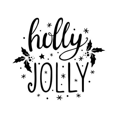 Hand Drawn Ink Lettering. Hand drawn lettering to winter holiday. Hand drawn Lettering - Holly Jolly