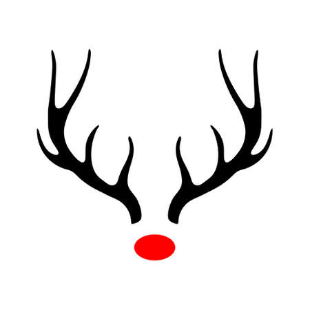 Deer antlers silhouette, red nose, Rudolph Vector illustration, isolated on white