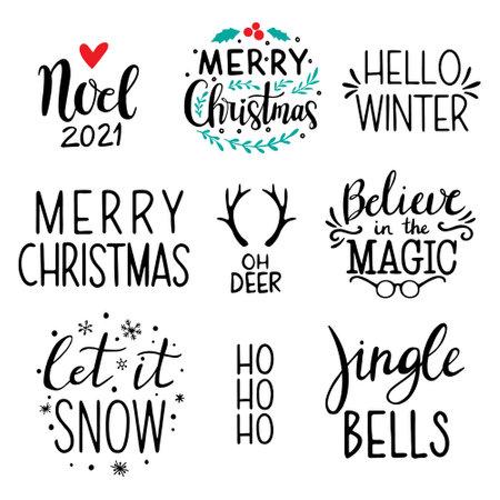 Christmas lettering set. Handdrawn Christmas Lettering. Christmas calligraphy set; Let it snow, HO HO HO,
