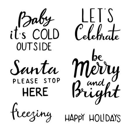 Christmas lettering set. Calligraphic and typographic design element: Merry and Bright, baby it s cold out side, let's celebrate, Santa Please stop here, freezing, Happy Holiday, be merry & Bright, Happy Holidays 일러스트