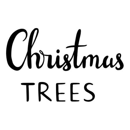 Calligraphic and typographic design element. Hand drawn lettering -Christmas tree
