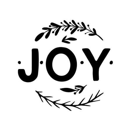 Joy Hand drawn Lettering. Vector illustration isolated on white