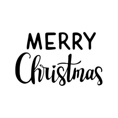 Handwritten modern brush lettering. Hand drawn inscription to winter holiday. Merry christmas hand drawn lettering, lettering - Merry Christmas 일러스트