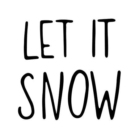 Hand Drawn Ink Lettering. Hand drawn Christmas Lettering. Let it snow - Hand Drawn Ink Lettering. Vector illustration, isolated on white 일러스트