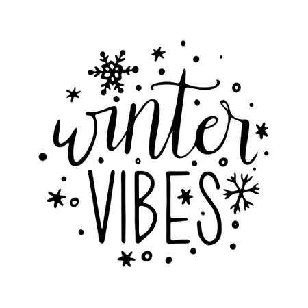 Handdrawn Christmas Lettering. lettering winter vibes. Lettering for Happy holidays greeting card