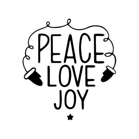 Hand drawn Christmas Lettering. Hand drawn lettering PEACE, LOVE, JOY. Vector illustration, isolated on white