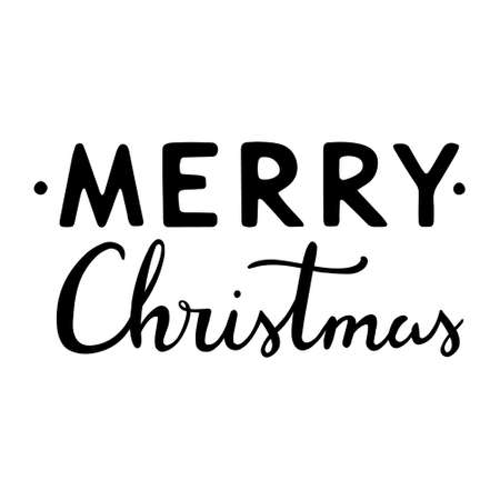 Merry christmas hand drawn lettering. Calligraphic and typographic design element. lettering - Merry Christmas