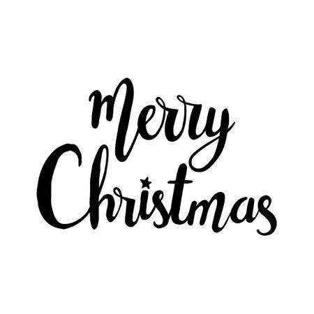 Handwritten modern brush lettering. Hand drawn inscription to winter holiday. Merry christmas hand drawn lettering. lettering - Merry Christmas 일러스트