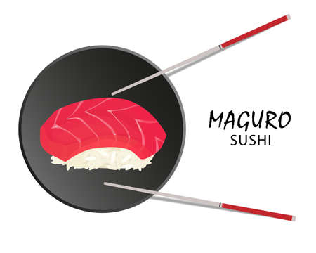 Maguro sushi roll, Asian food, flat style. Isolated on white