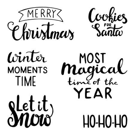 Christmas lettering set. Lettering badge emblems. Merry christmas hand drawn lettering. Typography set. Calligraphic and typographic design element; Let it snow, Cookies for Santa, Most Magical time of the year, Merry Christmas, ho ho ho
