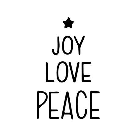 Handwritten modern brush lettering - Joy, love, peace