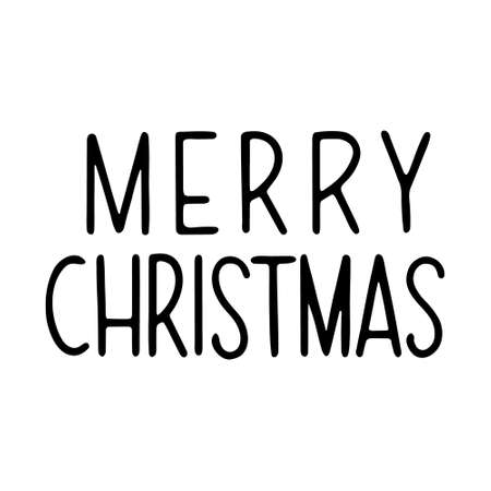 Hand drawn lettering to winter holiday. Merry Christmas hand drawn lettering. lettering - Merry Christmas. Vector illustration, isolated on white 일러스트
