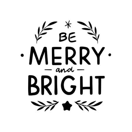Hand Drawn Ink Lettering. Hand drawn lettering Merry and Bright. Merry And Bright Christmas Lettering.