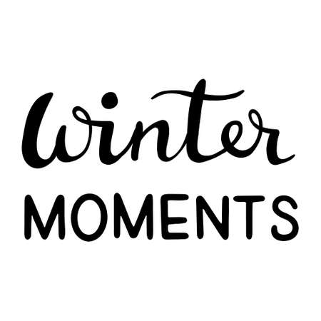 Hand drawn inscription to winter holiday. Winter moments - Hand Drawn Ink Lettering