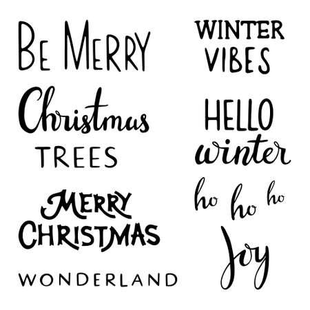 Christmas lettering set. Hand drawn lettering to winter holiday. Lettering badge emblems. Typography set. Hello Winter, Be merry, Christmas tree, hello winter, ho ho ho, Joy, Wonderland,