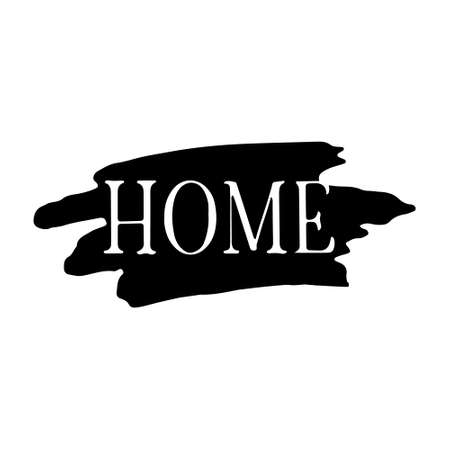 Hand drawn lettering Home on brush strokes. Vector illustration, isolated on white