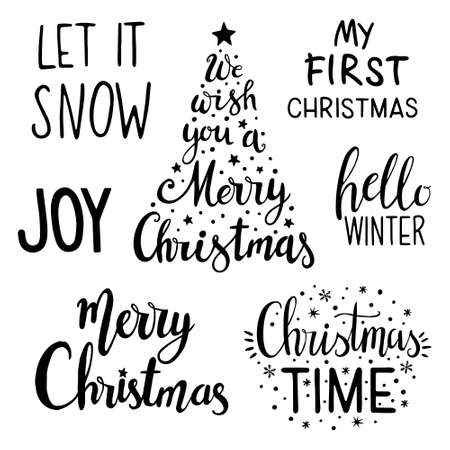 Christmas lettering set. Holiday hand lettering set. Christmas calligraphy set;