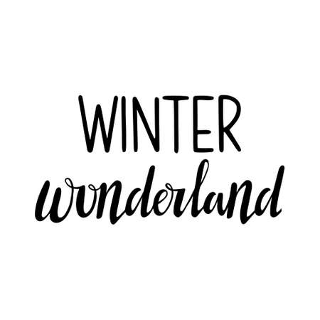 Hand drawn lettering to winter holiday. Hand drawn Lettering - Winter wonderland 일러스트