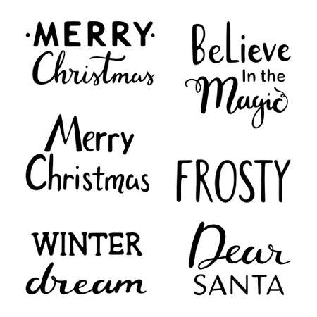 Christmas lettering set. Typography set. Holiday hand lettering set; Believe in the magic, Merry Christmas, Winter Dream, Frosty, Dear Santa