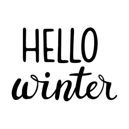Hand Drawn Ink Lettering. Lettering - Hello Winter. Hand drawn lettering text