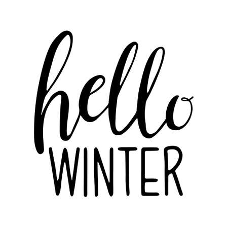 Lettering - Hello Winter. Hand drawn lettering text