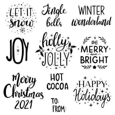 Christmas lettering set. Christmas calligraphy set: Merry and Bright, Let it snow, Winter wonderland, Jingle bells, Joy, Merry Christmas, Hot cocoa, Holly Jolly, to From, 2021, happy Holidays 일러스트