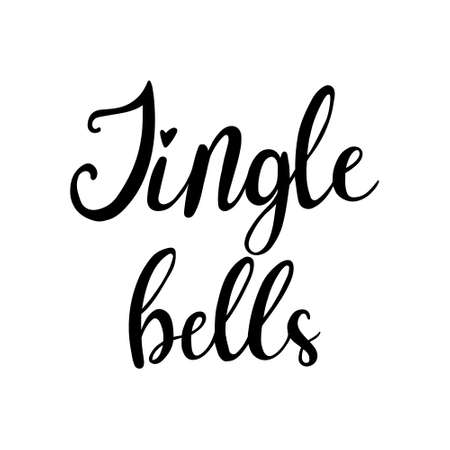 Hand Drawn Ink Lettering. Lettering - Jingle bells. Jingle bells calligraphic hand drawn lettering 일러스트