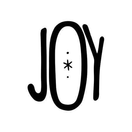 Hand drawn Christmas Lettering. Joy Hand drawn Lettering. Vector illustration isolated on white