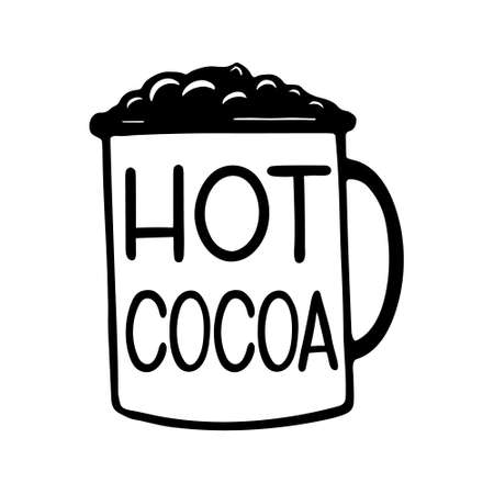 Hand drawn lettering - Hot cocoa. Vector illustration isolated on white