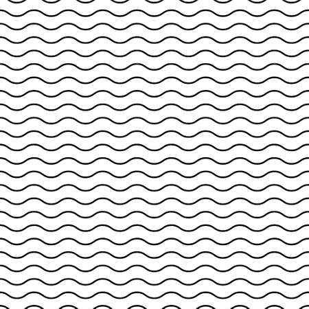 Seamless black and white pattern with waves. Minimalistic design