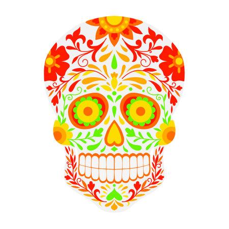 Sugar skull, flat design. Mexican Dia de los Muertos (Day of the Dead) sugar skull