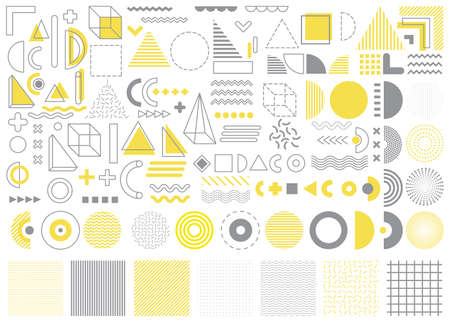 Vector memphis, set of abstract geometric shapes, ornamental shapes, waves, seamless patterns, geometric shapes, design elements in trendy gray and yellow color isolated on white background
