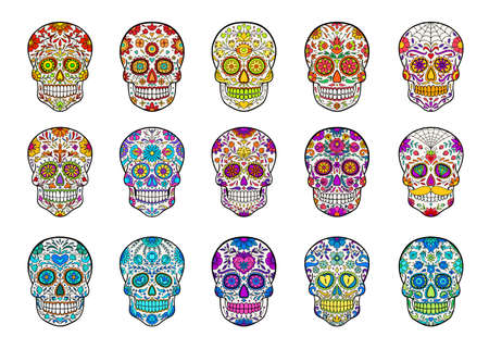 Set of hand drawn sugar skulls. Collection of Mexican skulls for mexican Day of the Dead