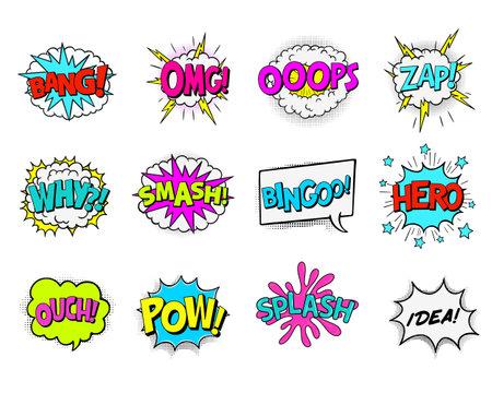Comic Book Sound Effects. Comic book speech bubbles set
