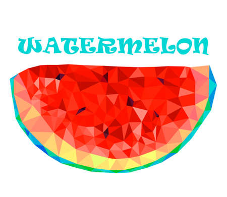 Watermelon, Polygonal slice of watermelon in Vector. Watermelon slices with seeds in the polygonal style