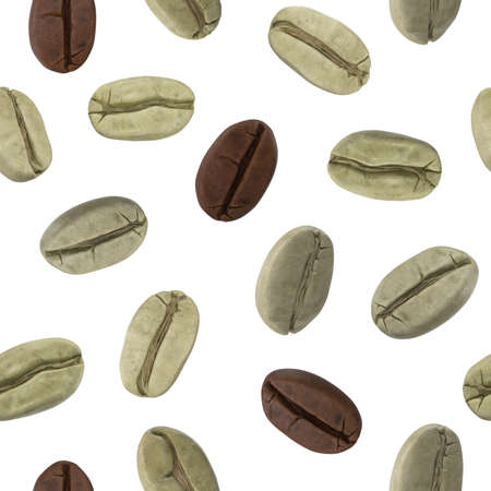 seamless pattern with green and roasted coffee beans. 3D illustration 版權商用圖片