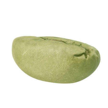 Green coffee bean on white background side view. 3D illustration