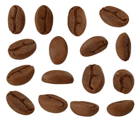 Set of roasted coffee bean isolated on white background, with clipping path, 3d illustration 版權商用圖片